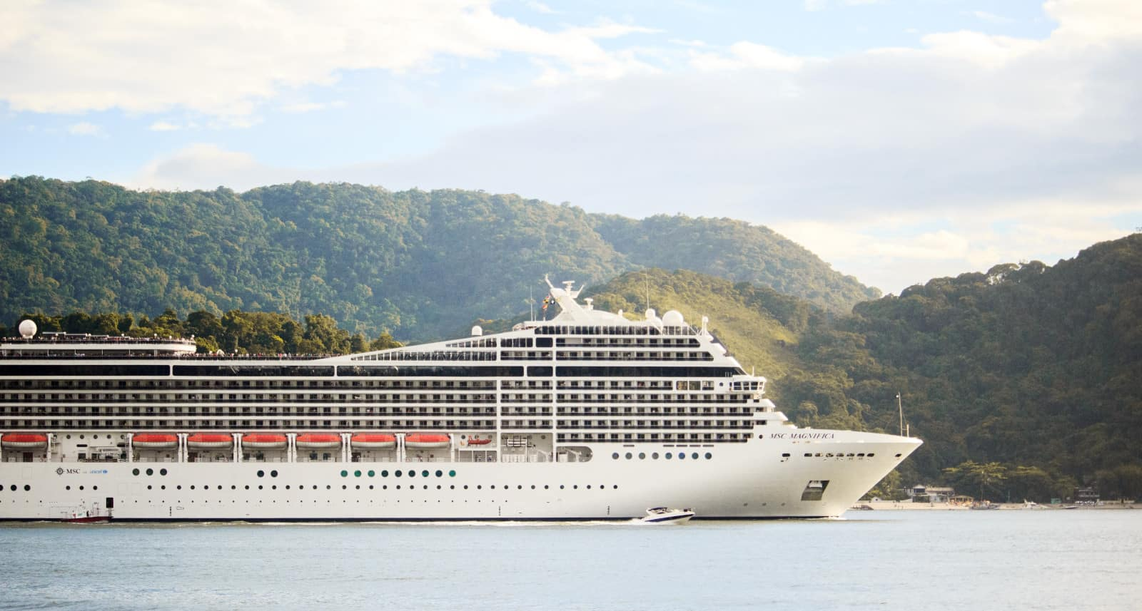 Cruise-ship-trees-sky-water-white